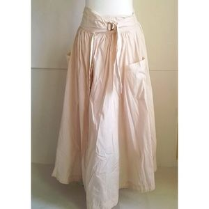 Free People Pink Button Front Peasant Maxi Skirt